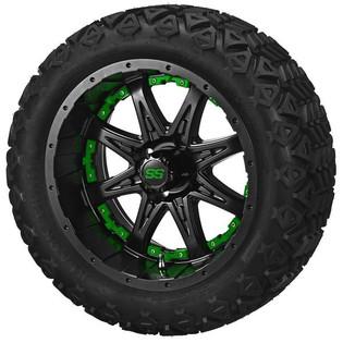 14 x 7 Matte Black Revenge Wheel with Green Inserts on 23 x 10-14 Black Trail