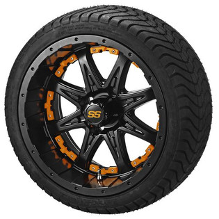 14 x 7 Matte Black Revenge Wheel with Orange Inserts on 215/35-14 LSI Elite