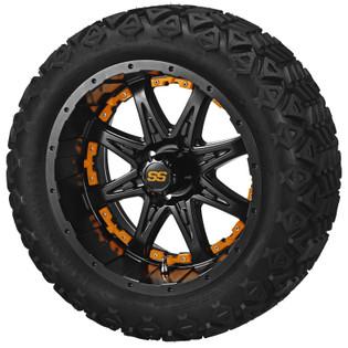 14 x 7 Matte Black Revenge Wheel with Orange Inserts on 23 x 10-14 Black Trail