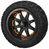 14 x 7 Matte Black Revenge Wheel with Orange Inserts on 23 x 10-14 Black Trail