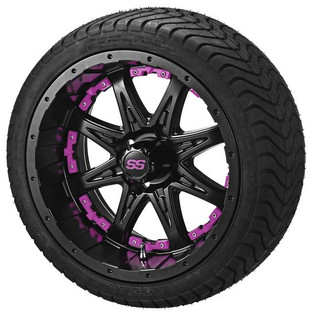 14 x 7 Matte Black Revenge Wheel with Pink Inserts on 215/35-14 LSI Elite