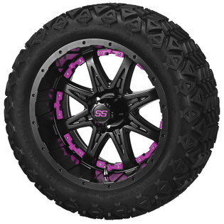 14 x 7 Matte Black Revenge Wheel with Pink Inserts on 23 x 10-14 Black Trail