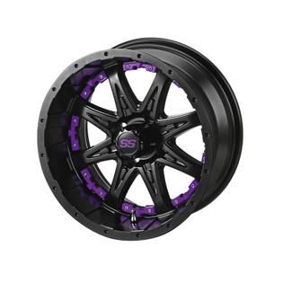14 x 7 Matte Black Revenge Wheel with Purple Inserts