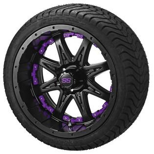14 x 7 Matte Black Revenge Wheel with Purple Inserts on 215/35-14 LSI Elite