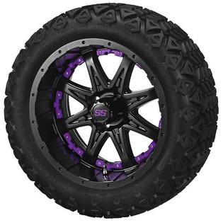 14 x 7 Matte Black Revenge Wheel with Purple Inserts on 23 x 10-14 Black Trail