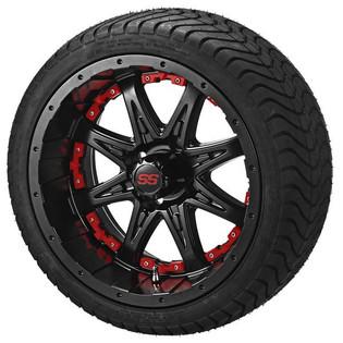 14 x 7 Matte Black Revenge Wheel with Red Inserts on 215/35-14 LSI Elite