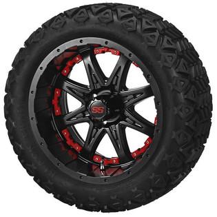 14 x 7 Matte Black Revenge Wheel with Red Inserts on 23 x 10-14 Black Trail