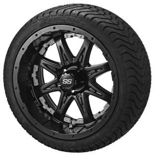 14 x 7 Matte Black Revenge Wheel with Silver Inserts on 215/35-14 LSI Elite