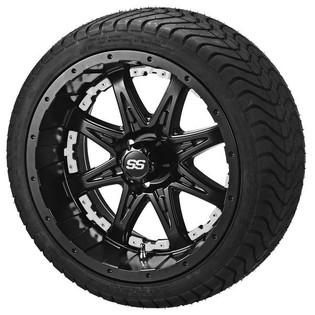 14 x 7 Matte Black Revenge Wheel with White Inserts on 215/35-14 LSI Elite