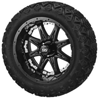 14 x 7 Matte Black Revenge Wheel with White Inserts on 23 x 10-14 Black Trail