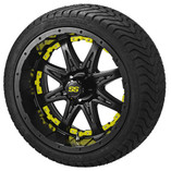 14 x 7 Matte Black Revenge Wheel with Yellow Inserts on 215/35-14 LSI Elite
