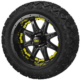 14 x 7 Matte Black Revenge Wheel with Yellow Inserts on 23 x 10-14 Black Trail