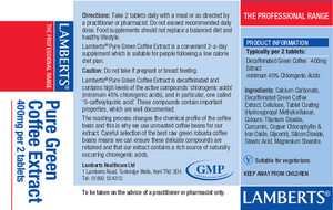 Lamberts Green Coffee Extract 400mg 60 Tablets