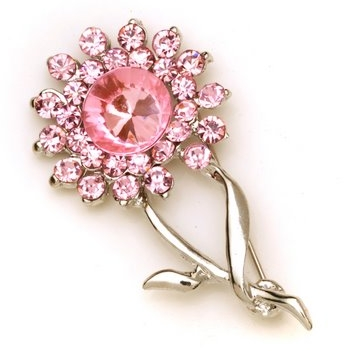 Flower Bouquet Rhinestone Brooch