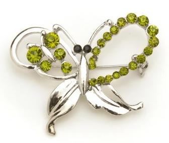 Silvery Butterfly Rhinestone Brooch