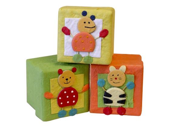 Mulberry Paper Cube (Square) Box Jungle Theme