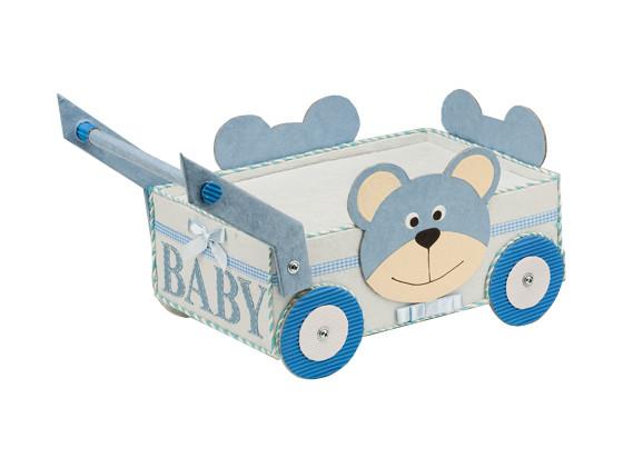Teddy Bear Baby Shower Wagon Blue