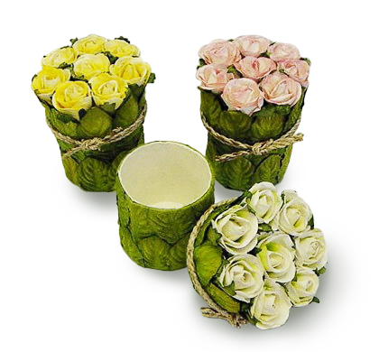 Rose Bunch Paper Box-Yellow, Pink Cream, Ivory Green