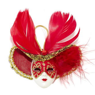 Miniature Masquerade Mask Ornament/Red