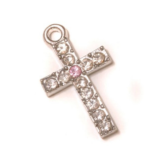 Pink Rhinestone Cross Pendant Looped Top