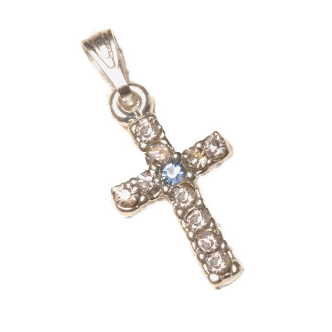 Rhinestone Cross Pendant Bail Top Blue Center Stone