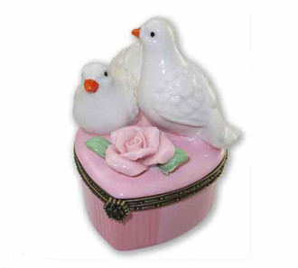 Two Doves Pink Trinket Box