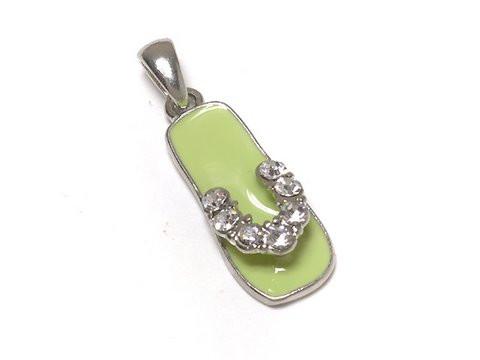 Rhinestone Flip-Flop Charm Pendant, Green