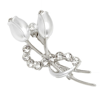 Tulip Brooch Brush Painted Pearlized Off-White