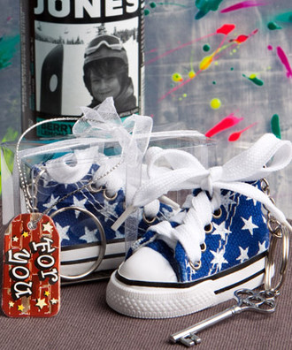 Baby Sneaker Key Chain Blue Star Print
