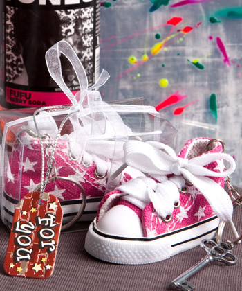 Baby Sneaker Key Chain Pink Star Print