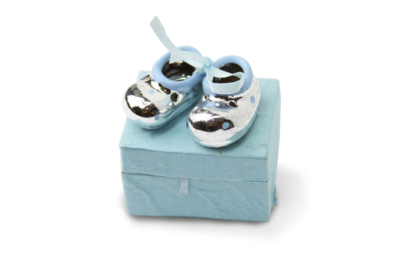 Baby Favor Box Chrome Blue Baby Booties