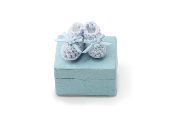 Baby Favor Mulberry Paper Boxes Blue Crocheted Booties