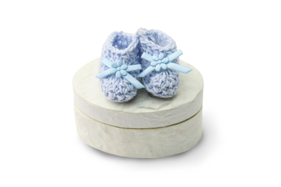 Mulberry Paper Favor Box Blue Baby Booties