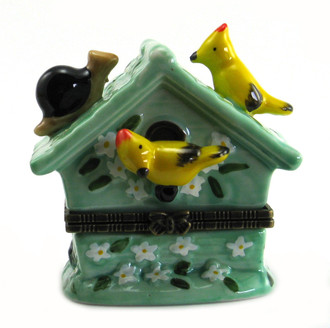 Ceramic Bird House Trinket Box