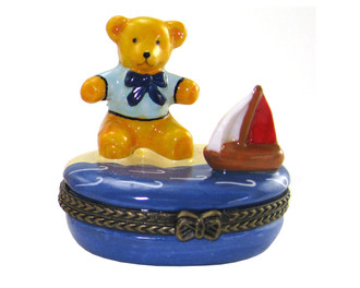 Teddy Bear Sailboat Trinket Box
