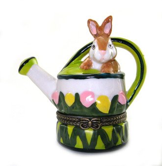 Bunny in Watering Can Trinket Box
