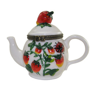 Strawberry Teapot Trinket Box