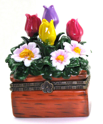 Colorful Flower Pot Trinket Box