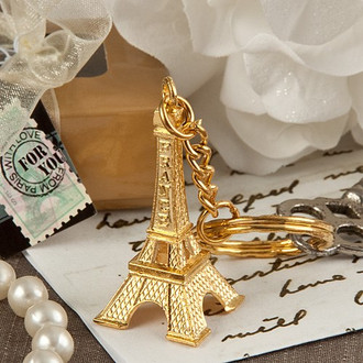 Eiffel Tower Gold Key Chain Favor