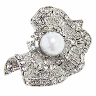 Sparkling Brooch Crinkled Silver Pearl