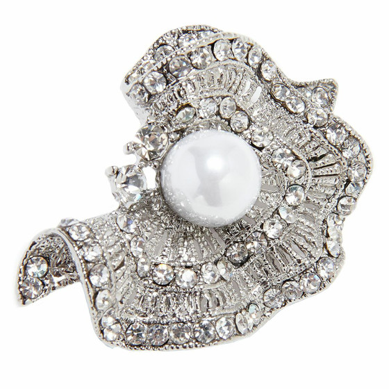 Sparkling Brooch Crinkled Silver Pearl