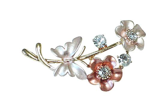 Pink Enameled Tri-Tone Floral Brooch