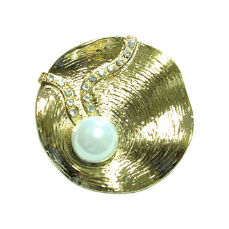 Oyster Pearl Brooch Gold