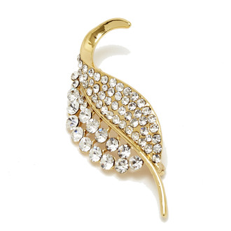 Leaf Shape Rhinestone Brooch Gold Finish Vertical Image