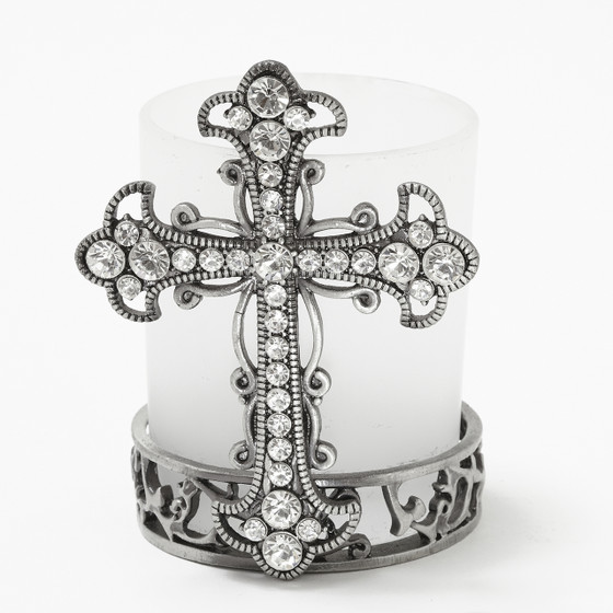Pewter Cross Votive Candle Holder