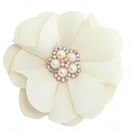 Chiffon Flower Embellishment Ivory Color