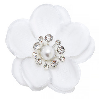 White Flower Embellishment-White Rhinestone in the Center
