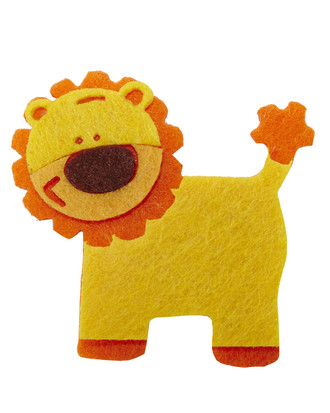 Lion Embellishment Made of Felt-Yellow and Orange