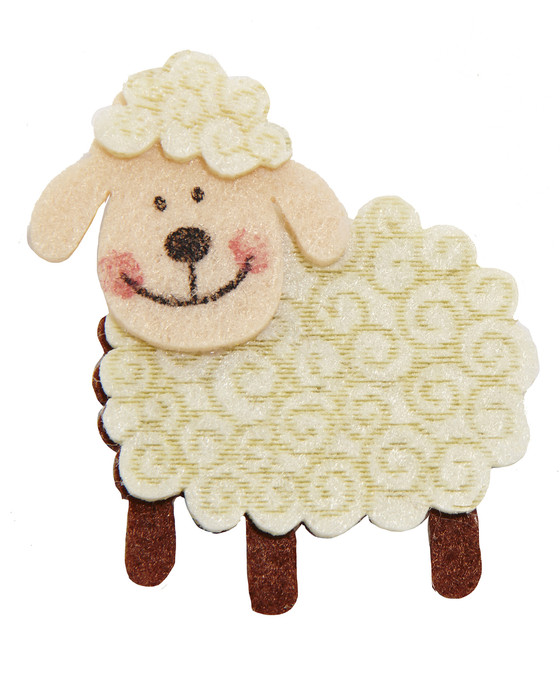 Sheep of Felt Material-Beige and Brown