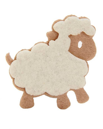 Lamb Embellishment in Light Beige and Dark Beige Ccolor Combination